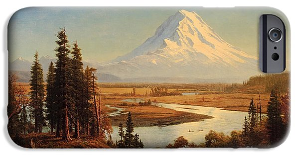 Steer Paintings iPhone Cases - Mount Rainier iPhone Case by Celestial Images