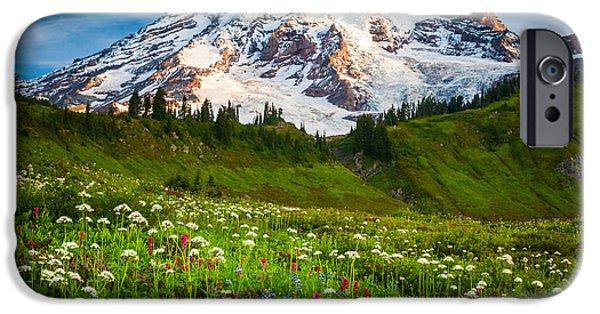 Paintbrush Photographs iPhone Cases - Mount Rainier Flower Meadow iPhone Case by Inge Johnsson
