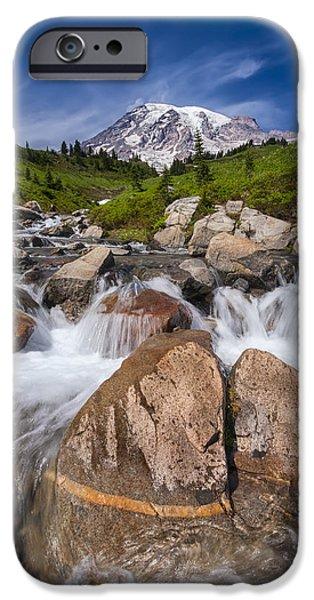 Pacific Northwest Rivers iPhone Cases - Mount Rainier Glacial Flow iPhone Case by Adam Romanowicz