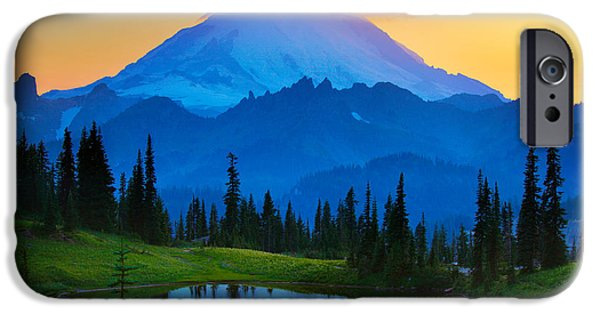 Seattle iPhone Cases - Mount Rainier Goodnight iPhone Case by Inge Johnsson