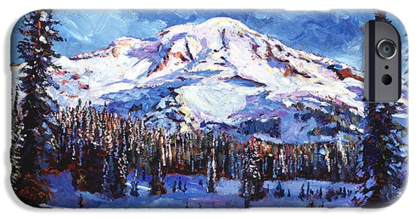 Snow-covered Landscape Paintings iPhone Cases - Mount Rainier Impressions iPhone Case by David Lloyd Glover