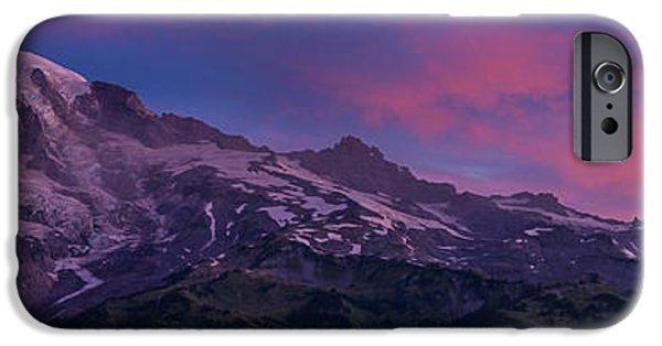 North Cascades iPhone Cases - Mount Rainier Sunrise iPhone Case by Mike Reid
