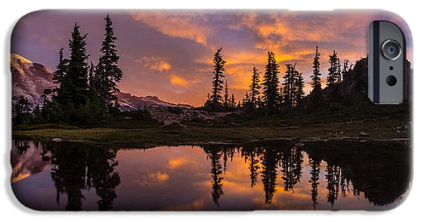 North Cascades iPhone Cases - Mount Rainier Sunrise Reflection Glow iPhone Case by Mike Reid