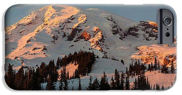 Mount Rainier iPhone Cases - Mount Rainier Sunset Glow iPhone Case by Mike Reid