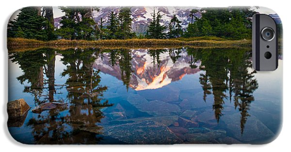 Drama iPhone Cases - Mount Rainier Tarn iPhone Case by Inge Johnsson