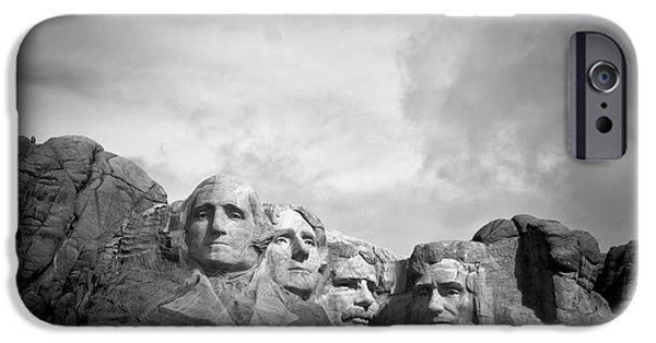 National Treasure iPhone Cases - Mount Rushmore BW iPhone Case by Robert Frederick