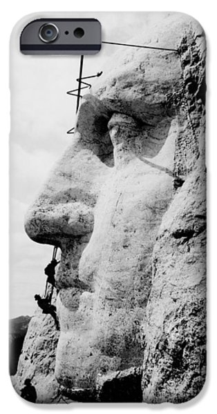 President iPhone Cases - Mount Rushmore Construction Photo iPhone Case by War Is Hell Store