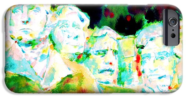 Statue Portrait Paintings iPhone Cases - Mount Rushmore  iPhone Case by Fabrizio Cassetta