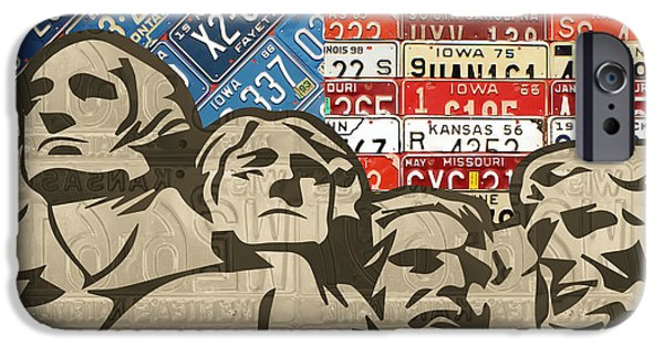 Landmarks Mixed Media iPhone Cases - Mount Rushmore Monument Vintage Recycled License Plate Art iPhone Case by Design Turnpike