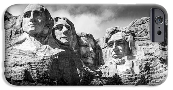 President iPhone Cases - Mount Rushmore National Memorial in Black and White iPhone Case by Debra Martz