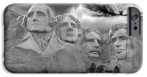 Lincoln Digital Art iPhone Cases - Mount Rushmore Panoramic iPhone Case by Mike McGlothlen