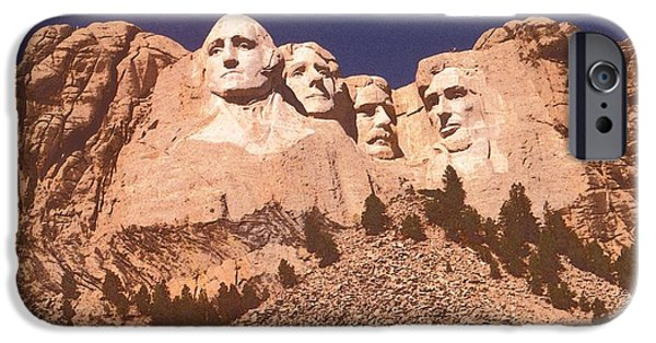 Patriotic Art Drawings iPhone Cases - Mount Rushmore Red iPhone Case by Peter Fine Art Gallery  - Paintings Photos Digital Art
