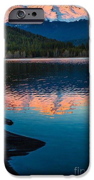 Stillness iPhone Cases - Mount Shasta Sunset iPhone Case by Inge Johnsson