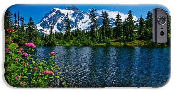 Spirea iPhone Cases - Mount Shuksan and Highwood Lake iPhone Case by Dan Mihai