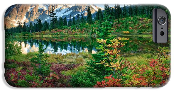 North Cascades iPhone Cases - Mount Shuksan Fall Cornucopia iPhone Case by Inge Johnsson