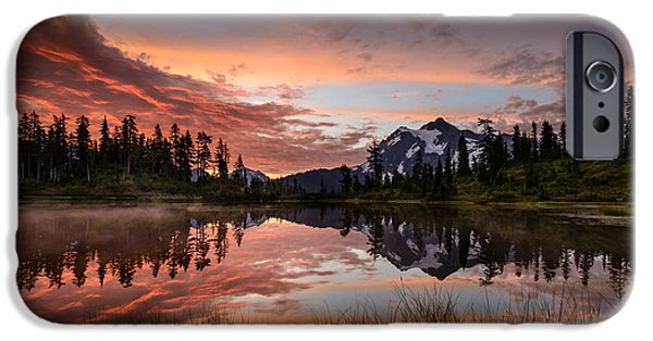 Fog Mist iPhone Cases - Mount Shuksan Fiery Sunrise iPhone Case by Dan Mihai