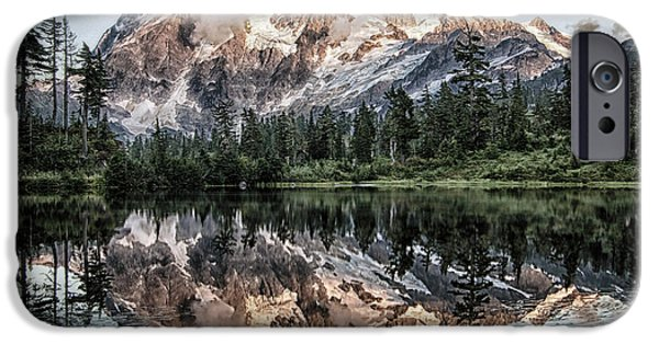 Wilderness Pyrography iPhone Cases - Mount Shuksan iPhone Case by Jesse Aaron