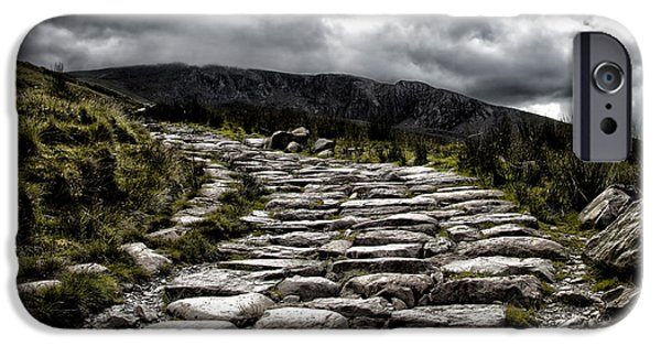 Storm iPhone Cases - Mount Snowdon path iPhone Case by Jane Rix