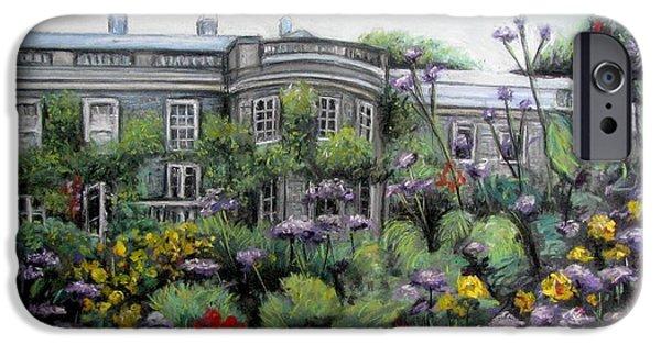 Garden Scene Pastels iPhone Cases - Mount Stewart House in Ireland iPhone Case by Melinda Saminski