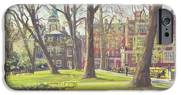 Garden Scene Photographs iPhone Cases - Mount Street Gardens, London Oil On Canvas iPhone Case by Julian Barrow