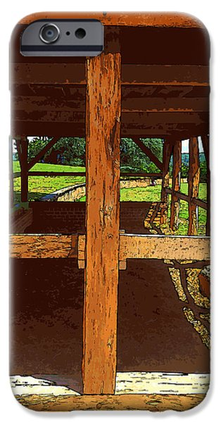 4th July Digital iPhone Cases - Mount Vernon Stable Cross Cartoon iPhone Case by Robert Pierce