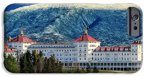 White Mountains iPhone Cases - Mount Washington Hotel iPhone Case by Tom Prendergast