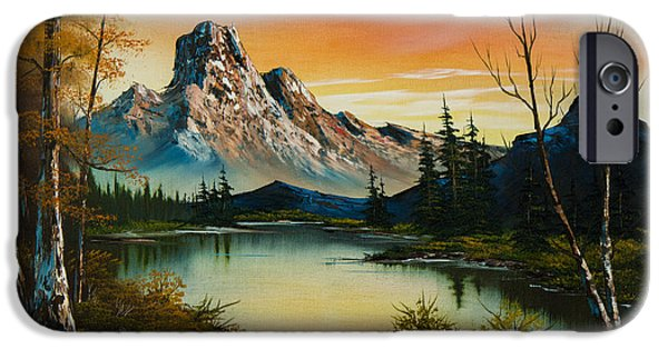 Bob Ross Paintings iPhone Cases - Sunset Lake iPhone Case by C Steele