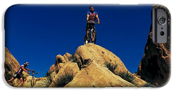 Descending iPhone Cases - Mountain Bikers Ca Usa iPhone Case by Panoramic Images