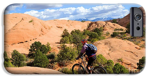 Slickrock iPhone Cases - Mountain Biking Moab Slickrock Trail - Utah iPhone Case by Gary Whitton
