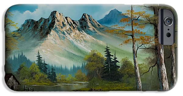 Bob Ross Paintings iPhone Cases - Mountain Retreat iPhone Case by C Steele