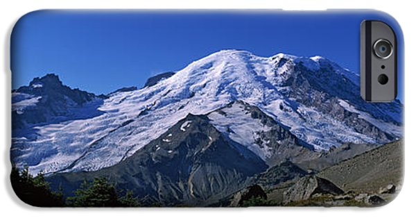 Rainy Day iPhone Cases - Mountain Covered With Snow, Mt Rainier iPhone Case by Panoramic Images