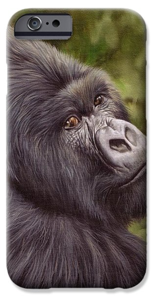 David iPhone Cases - Mountain Gorilla Painting iPhone Case by David Stribbling