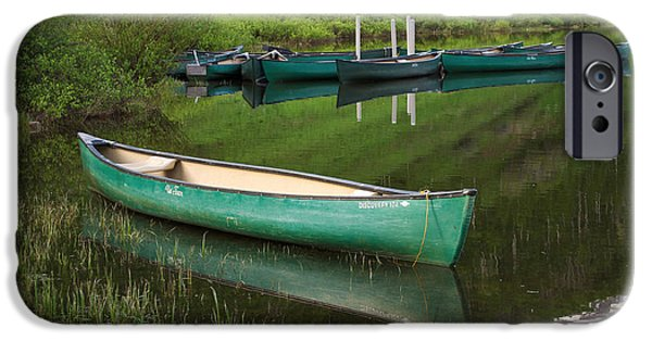 Green Canoe iPhone Cases - Mountain Lake Canoe iPhone Case by Aaron Spong