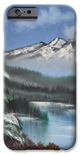 Bob Ross Paintings iPhone Cases - Mountain Lake iPhone Case by Diana Matlock