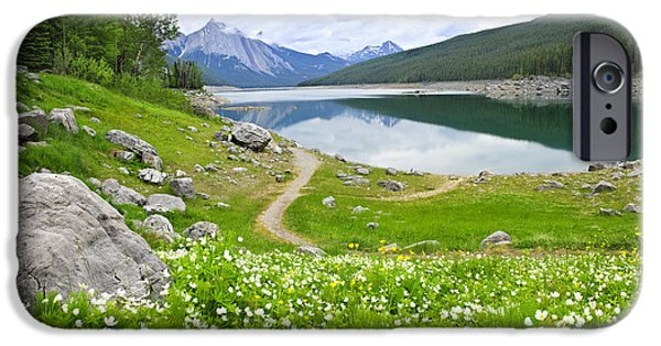 Meadow Photographs iPhone Cases - Mountain lake in Jasper National Park Canada iPhone Case by Elena Elisseeva