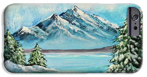 Park Scene Mixed Media iPhone Cases - Mountain Lake in Winter iPhone Case by  Bob and Nadine Johnston