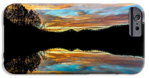 Crank iPhone Cases - Mountain lake sunset iPhone Case by Anthony Heflin