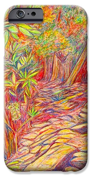 Dirty Pastels iPhone Cases - Mountain Lake Trail iPhone Case by Kendall Kessler