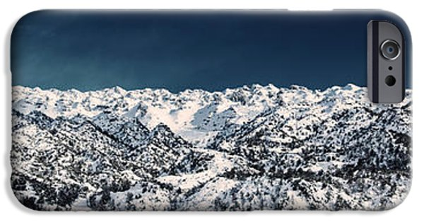 Wintertime iPhone Cases - Mountain landscape iPhone Case by Anna Omelchenko