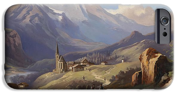 Concept Paintings iPhone Cases - Mountain Landscape iPhone Case by Ferdinand Lepie