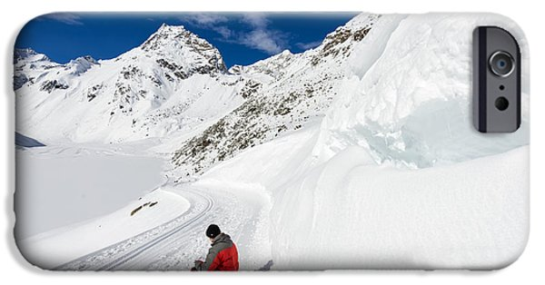 Landscape With Mountains iPhone Cases - Mountain landscape with tons of snow in Austria iPhone Case by Matthias Hauser