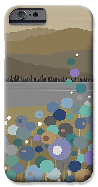 River View iPhone Cases - Mountain Meadow Morning iPhone Case by Val Arie