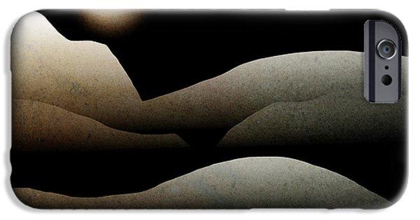 Rollo Digital Art iPhone Cases - Mountain Moonlight Landscape Art iPhone Case by Christina Rollo