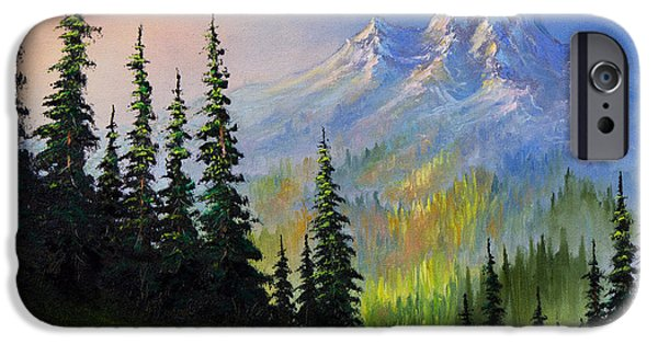 Recently Sold -  - Bob Ross Paintings iPhone Cases - Mountain Morning iPhone Case by C Steele