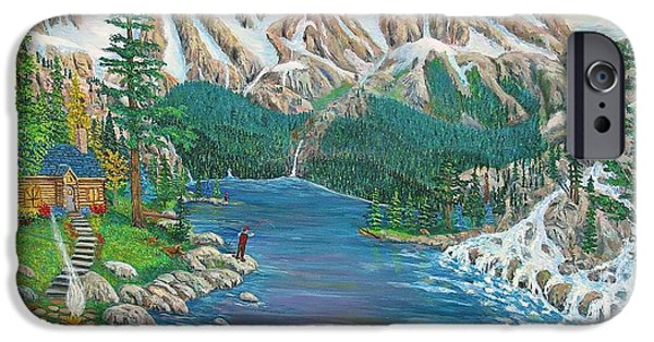 Canoe Waterfall Paintings iPhone Cases - Mountain of Serenity iPhone Case by Mike De Lorenzo