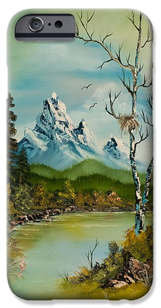 Bob Ross Paintings iPhone Cases - Lonely Peaks  iPhone Case by C Steele