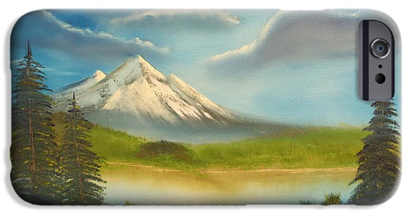 Bob Ross Paintings iPhone Cases - Mountain Overlook iPhone Case by Joyce Krenson