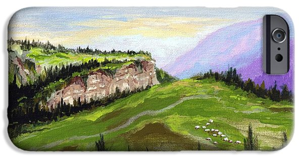 Farm Landscape Pastels iPhone Cases - Mountain Pasture  iPhone Case by Royce VanOver