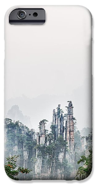 Recently Sold -  - Forest iPhone Cases - Mountain peaks in fog Zhangjiajie National Forest Park iPhone Case by Oleksiy Maksymenko