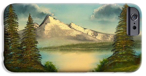 Bob Ross Paintings iPhone Cases - Mountain Pond iPhone Case by Joyce Krenson